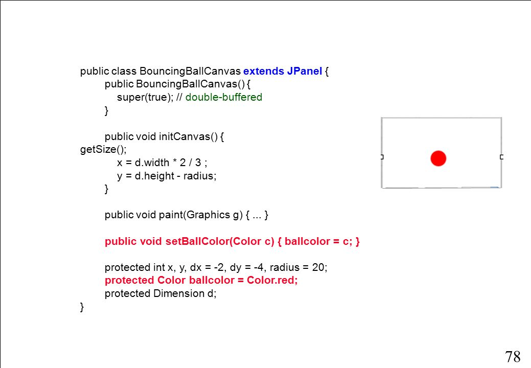 78 public class BouncingBallCanvas extends JPanel { public BouncingBallCanvas() { super(true); // double-buffered } public void initCanvas() { d = getSize(); x = d.width * 2 / 3 ; y = d.height - radius; } public void paint(Graphics g) {...