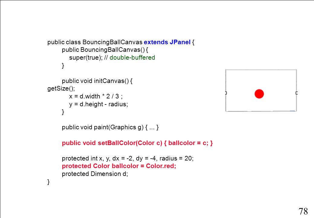 78 public class BouncingBallCanvas extends JPanel { public BouncingBallCanvas() { super(true); // double-buffered } public void initCanvas() { d = getSize(); x = d.width * 2 / 3 ; y = d.height - radius; } public void paint(Graphics g) {...