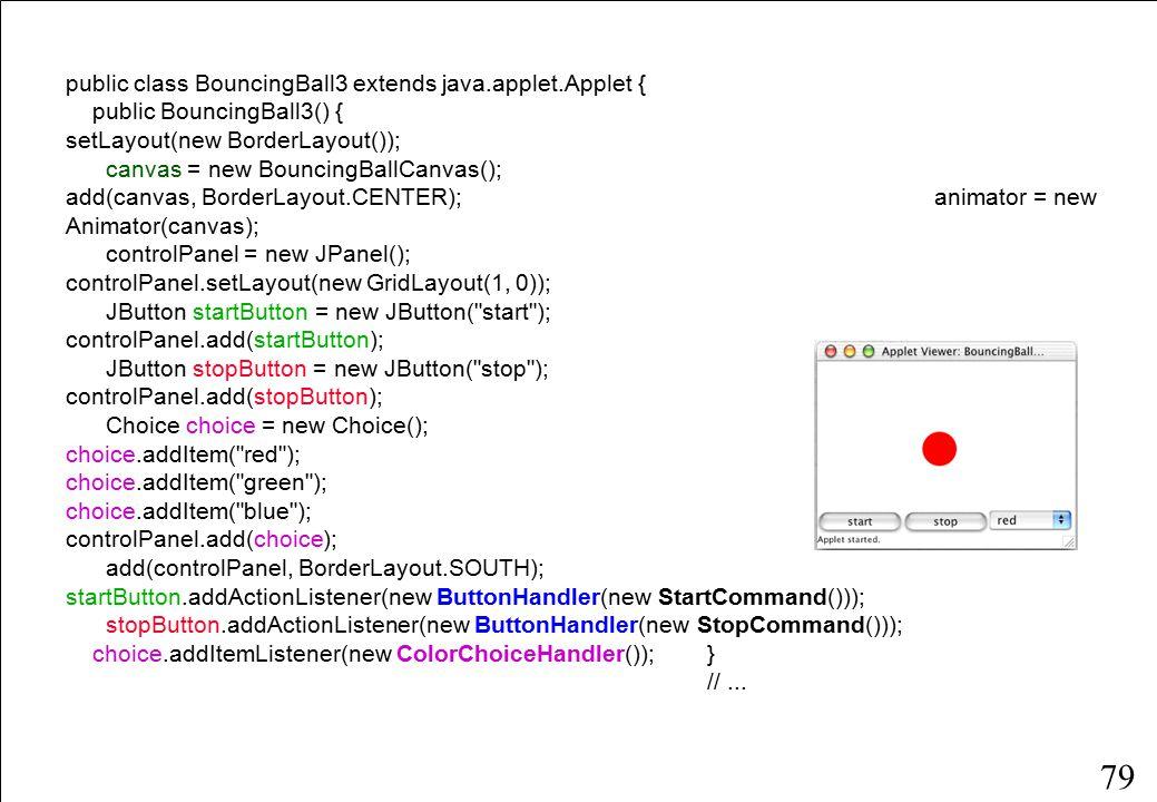 79 public class BouncingBall3 extends java.applet.Applet { public BouncingBall3() { setLayout(new BorderLayout()); canvas = new BouncingBallCanvas(); add(canvas, BorderLayout.CENTER); animator = new Animator(canvas); controlPanel = new JPanel(); controlPanel.setLayout(new GridLayout(1, 0)); JButton startButton = new JButton( start ); controlPanel.add(startButton); JButton stopButton = new JButton( stop ); controlPanel.add(stopButton); Choice choice = new Choice(); choice.addItem( red ); choice.addItem( green ); choice.addItem( blue ); controlPanel.add(choice); add(controlPanel, BorderLayout.SOUTH); startButton.addActionListener(new ButtonHandler(new StartCommand())); stopButton.addActionListener(new ButtonHandler(new StopCommand())); choice.addItemListener(new ColorChoiceHandler());} //...