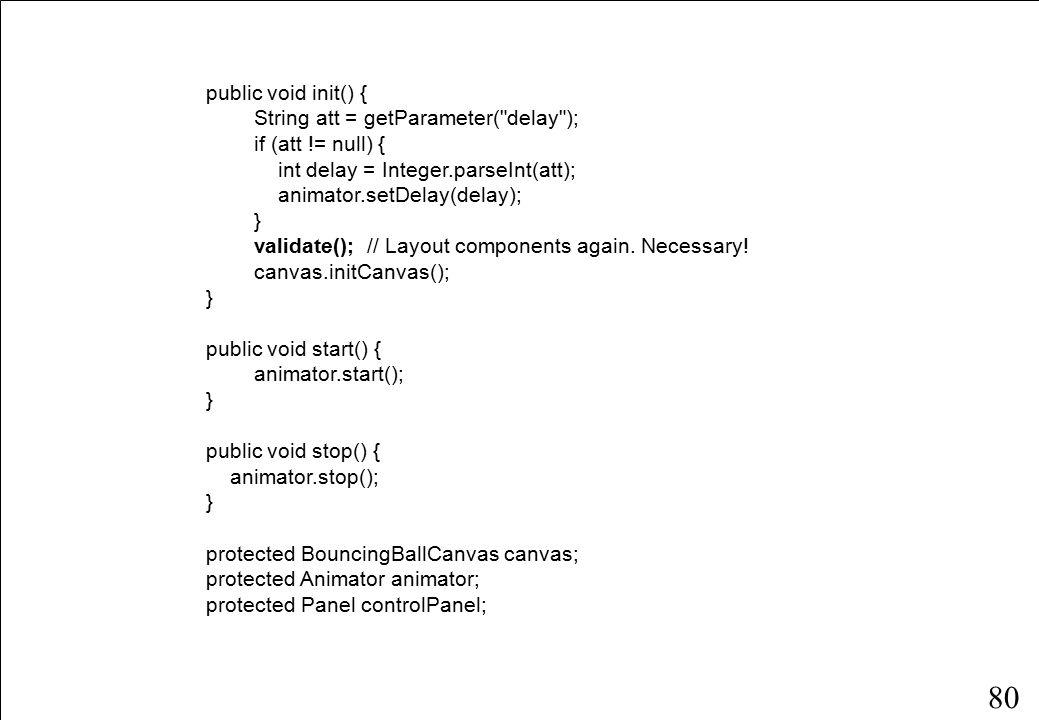 80 public void init() { String att = getParameter( delay ); if (att != null) { int delay = Integer.parseInt(att); animator.setDelay(delay); } validate(); // Layout components again.