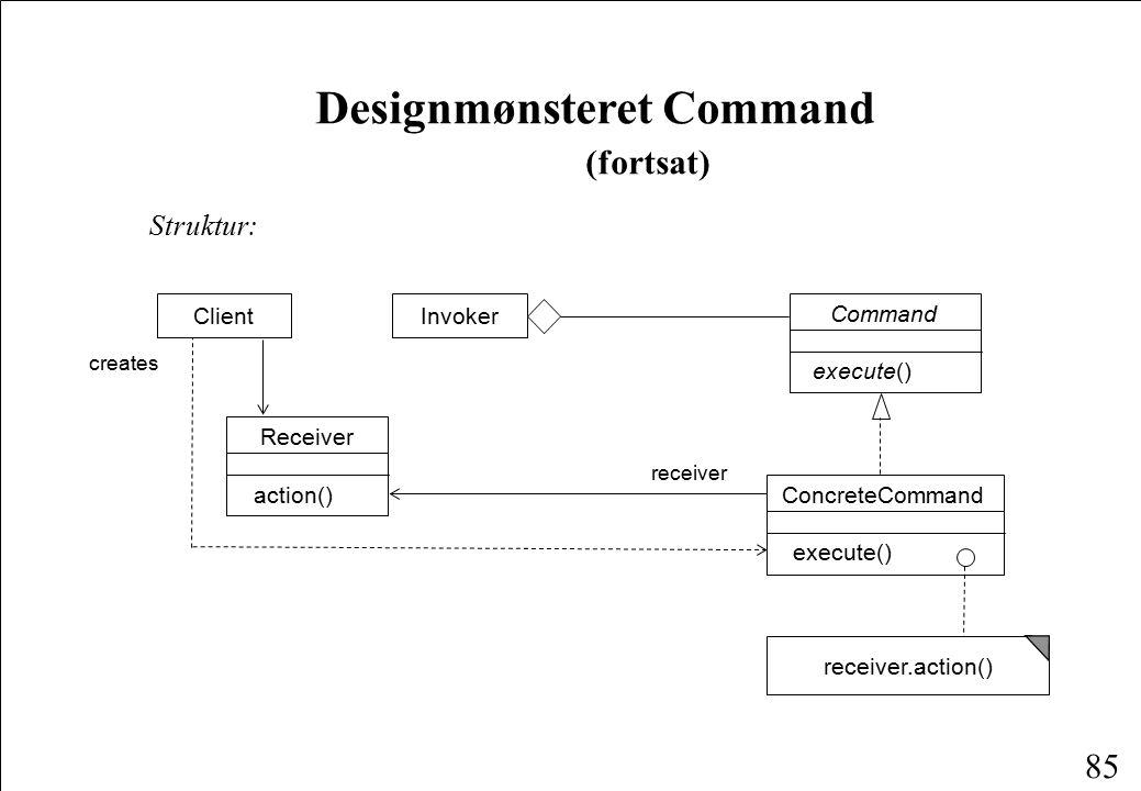 85 Designmønsteret Command (fortsat) Struktur: Client ConcreteCommand execute() Command execute() Receiver action() creates receiver Invoker receiver.action()