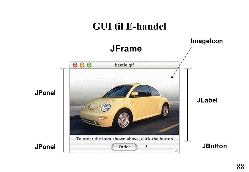 88 GUI til E-handel JFrame JPanel JLabel JButton ImageIcon
