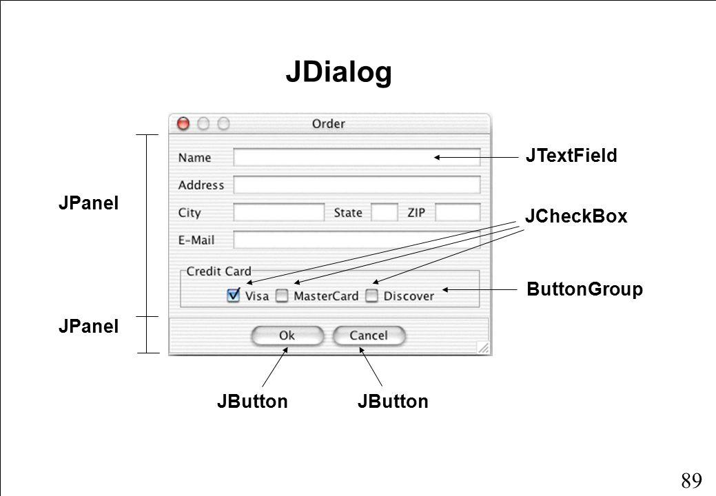 89 JDialog JPanel JButton JTextField JCheckBox ButtonGroup