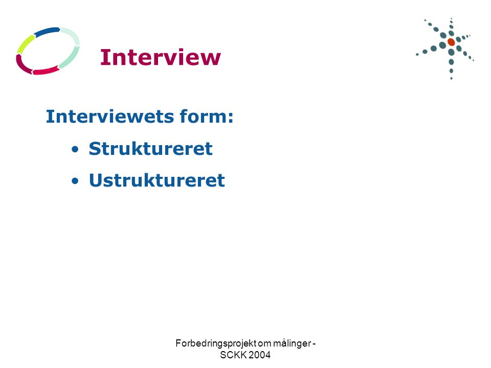 Forbedringsprojekt om målinger - SCKK 2004 Interview Interviewets form: Struktureret Ustruktureret