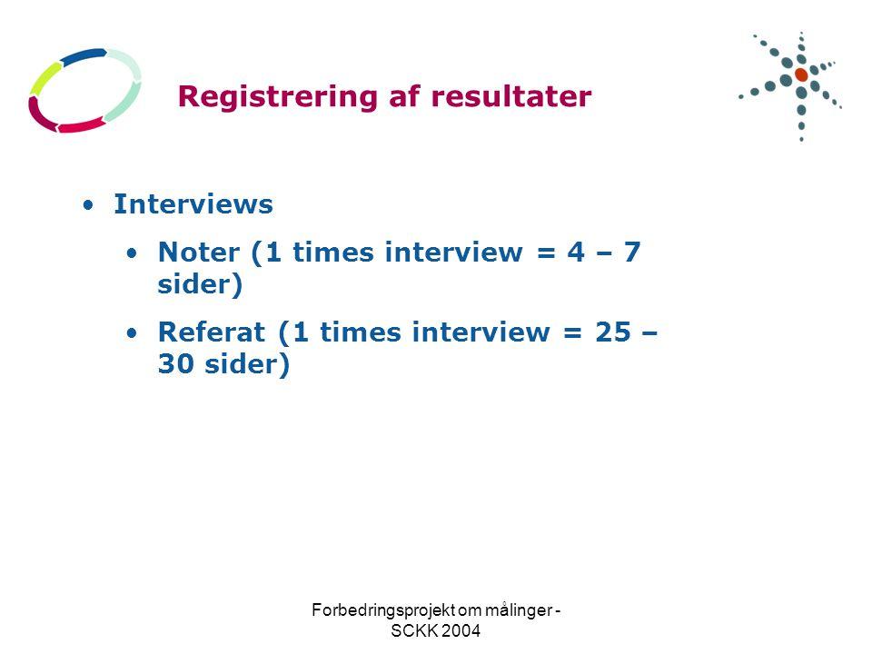 Forbedringsprojekt om målinger - SCKK 2004 Registrering af resultater Interviews Noter (1 times interview = 4 – 7 sider) Referat (1 times interview = 25 – 30 sider)
