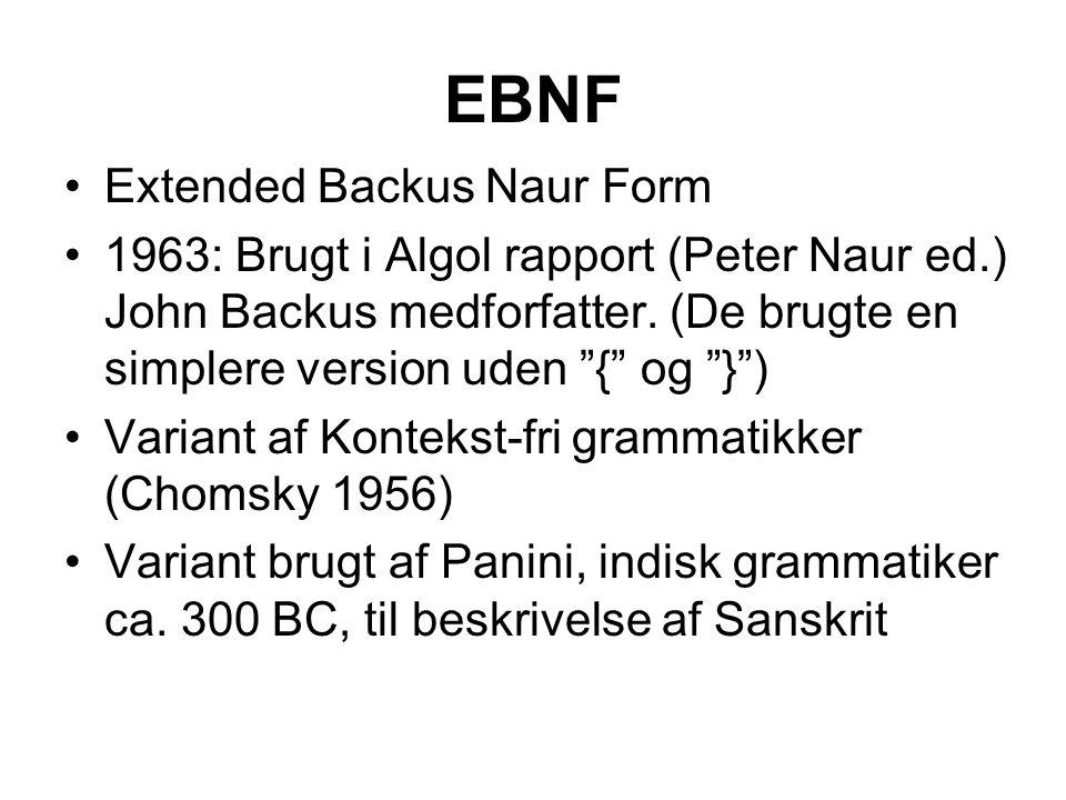 EBNF Extended Backus Naur Form 1963: Brugt i Algol rapport (Peter Naur ed.) John Backus medforfatter.