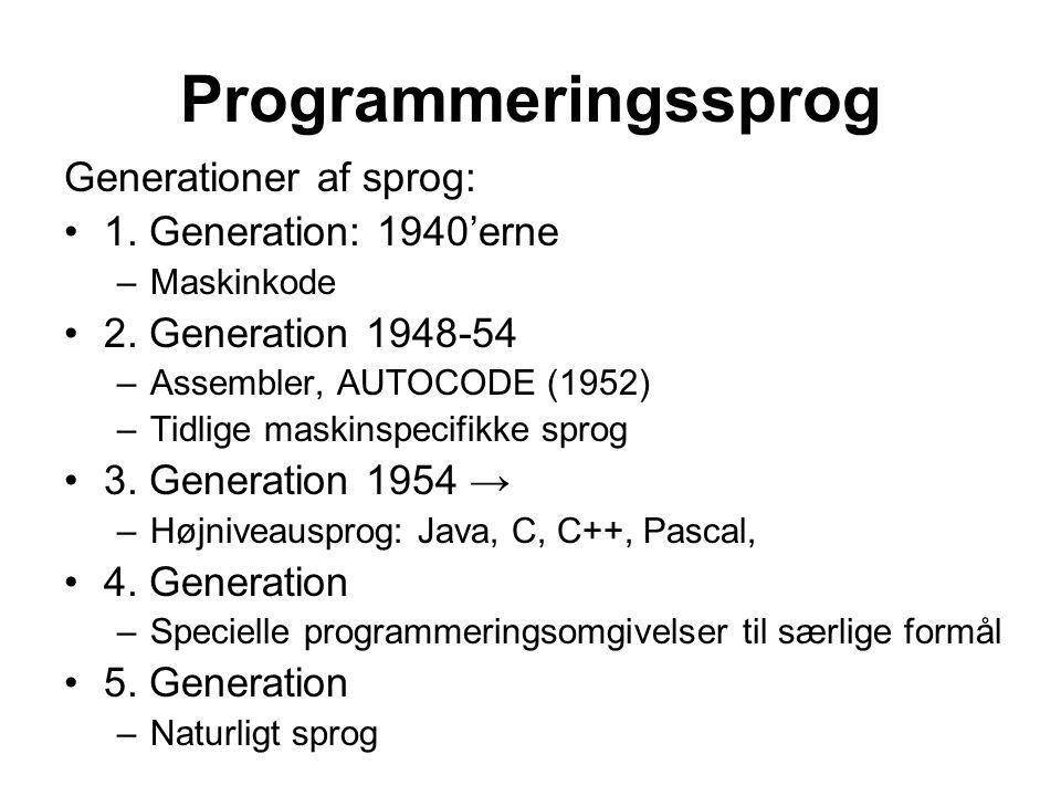 Programmeringssprog Generationer af sprog: 1. Generation: 1940'erne –Maskinkode 2.