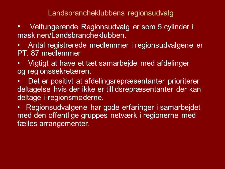 Landsbrancheklubbens regionsudvalg Velfungerende Regionsudvalg er som 5 cylinder i maskinen/Landsbrancheklubben.
