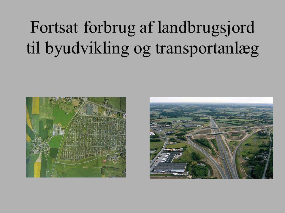Fortsat forbrug af landbrugsjord til byudvikling og transportanlæg