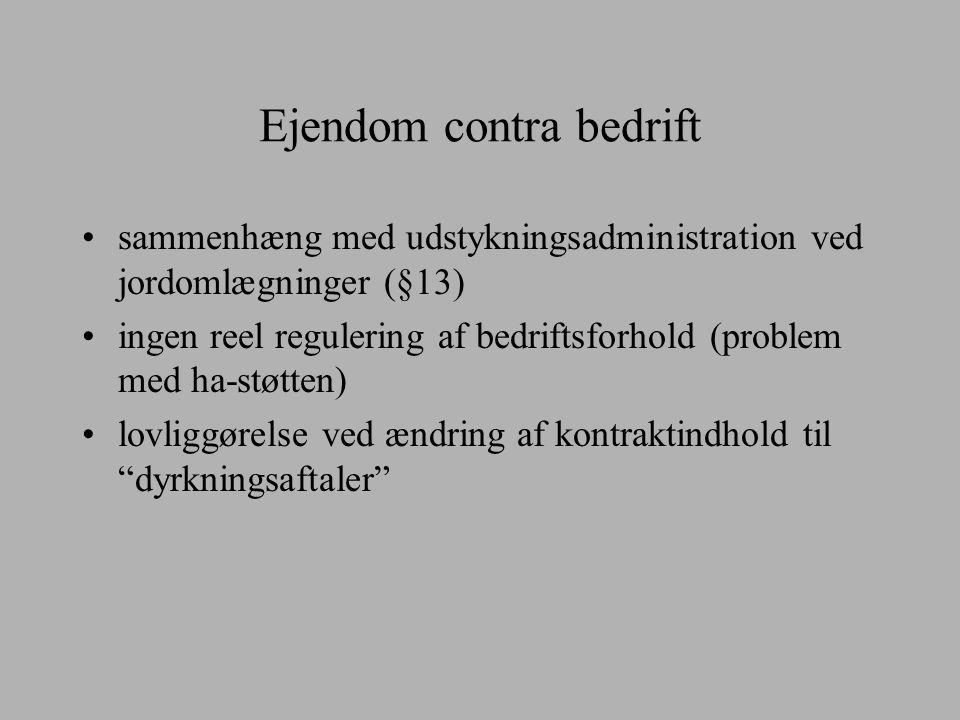 Ejendom contra bedrift sammenhæng med udstykningsadministration ved jordomlægninger (§13) ingen reel regulering af bedriftsforhold (problem med ha-støtten) lovliggørelse ved ændring af kontraktindhold til dyrkningsaftaler