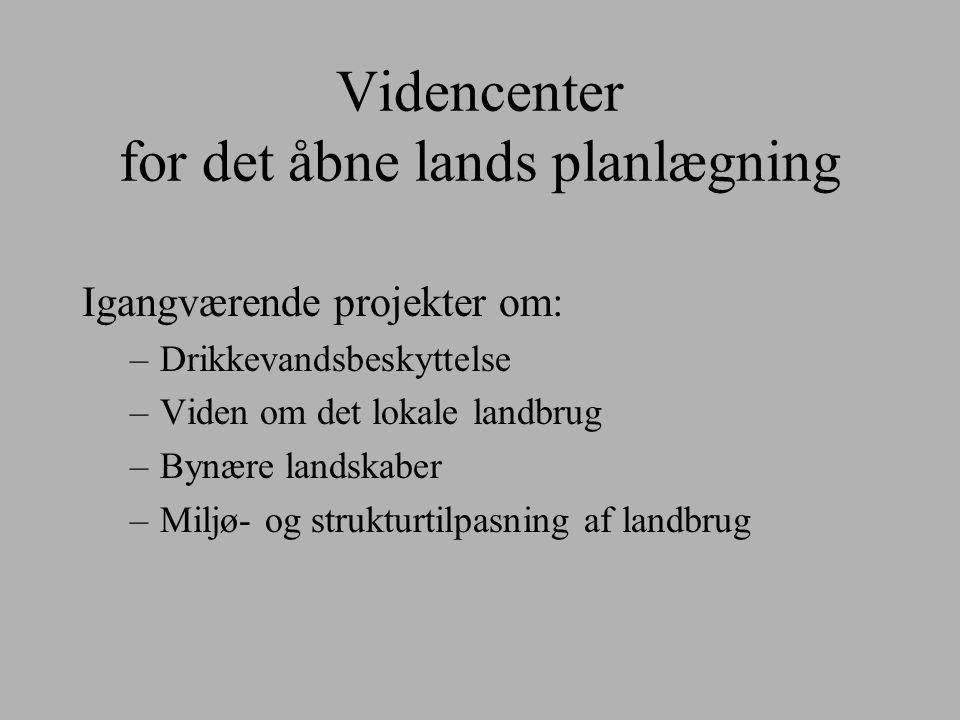 Videncenter for det åbne lands planlægning Igangværende projekter om: –Drikkevandsbeskyttelse –Viden om det lokale landbrug –Bynære landskaber –Miljø- og strukturtilpasning af landbrug