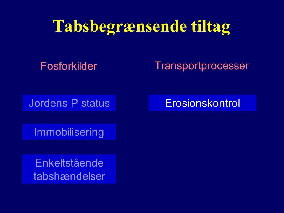 Tabsbegrænsende tiltag Fosforkilder Transportprocesser Jordens P status Enkeltstående tabshændelser Erosionskontrol Immobilisering