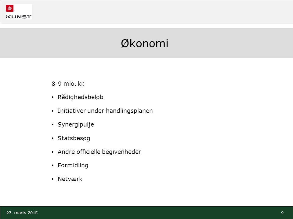 9 27. marts 2015 Økonomi 8-9 mio. kr.