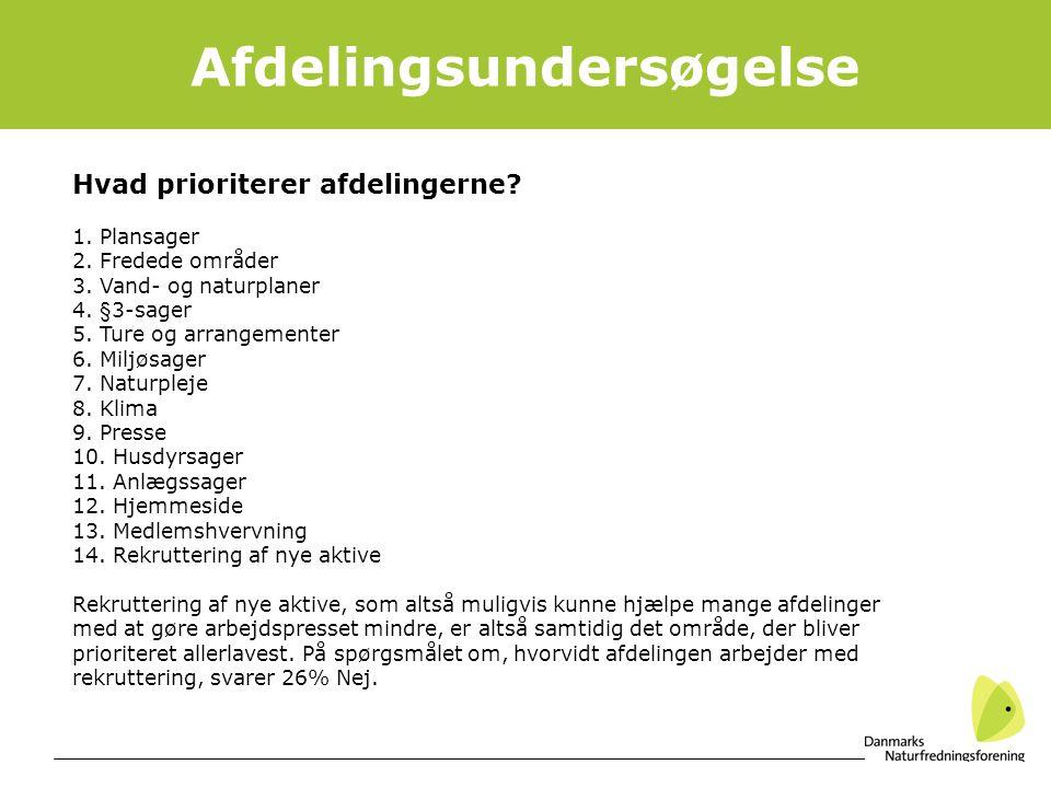 13 Afdelingsundersøgelse Hvad prioriterer afdelingerne.