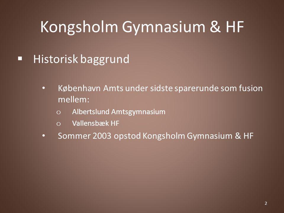 Kongsholm Gymnasium & HF  Historisk baggrund København Amts under sidste sparerunde som fusion mellem: o Albertslund Amtsgymnasium o Vallensbæk HF Sommer 2003 opstod Kongsholm Gymnasium & HF 2
