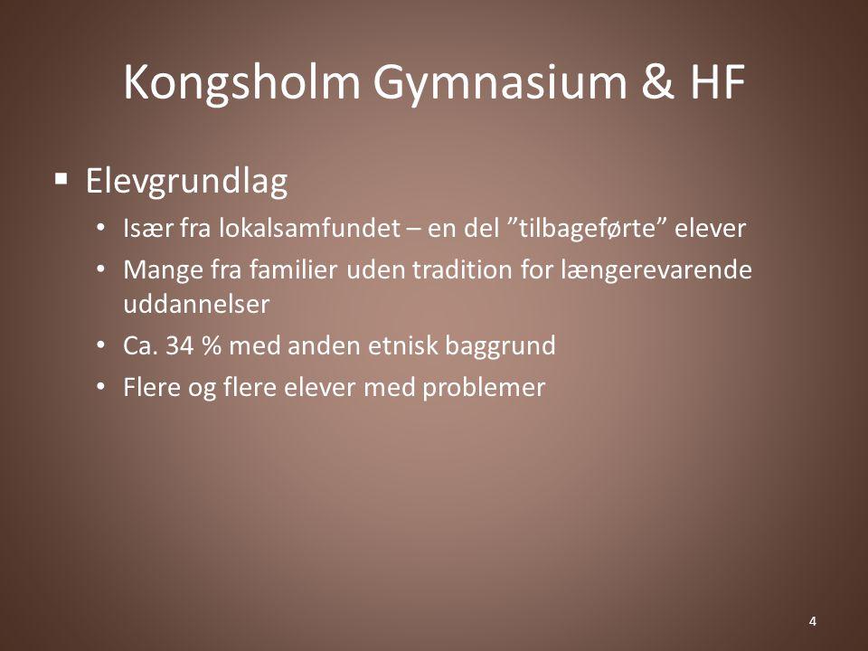 Kongsholm Gymnasium & HF  Elevgrundlag Især fra lokalsamfundet – en del tilbageførte elever Mange fra familier uden tradition for længerevarende uddannelser Ca.