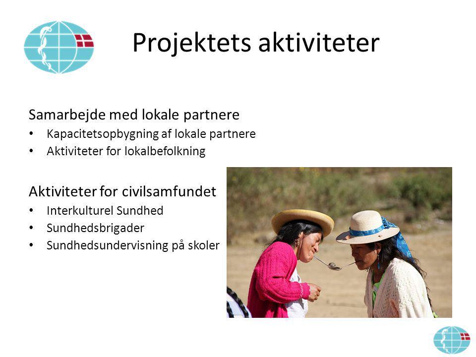 Projektets aktiviteter Samarbejde med lokale partnere Kapacitetsopbygning af lokale partnere Aktiviteter for lokalbefolkning Aktiviteter for civilsamfundet Interkulturel Sundhed Sundhedsbrigader Sundhedsundervisning på skoler