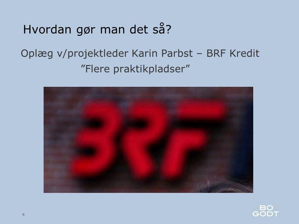 Hvordan gør man det så Oplæg v/projektleder Karin Parbst – BRF Kredit Flere praktikpladser 5