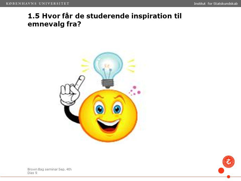 Brown Bag seminar Sep. 4th Dias 9 1.5 Hvor får de studerende inspiration til emnevalg fra.