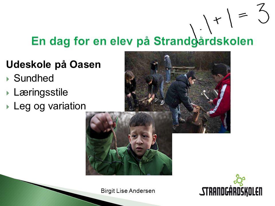 Birgit Lise Andersen En dag for en elev på Strandgårdskolen Udeskole på Oasen  Sundhed  Læringsstile  Leg og variation