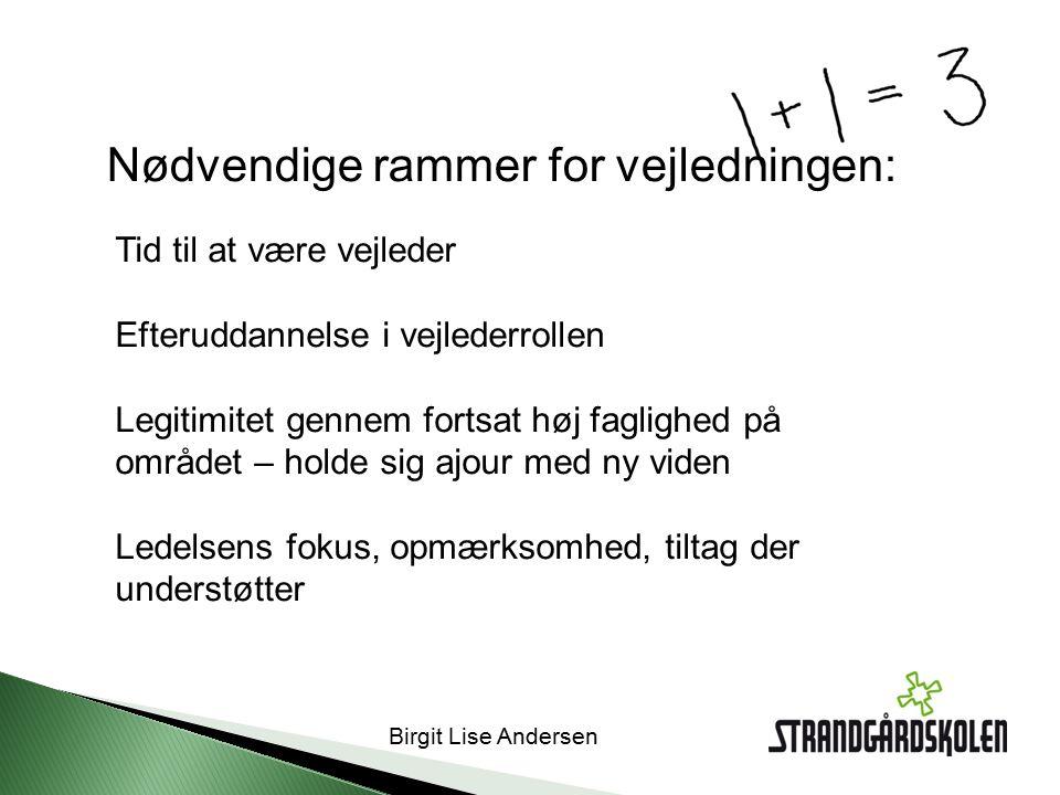 Birgit Lise Andersen Tid til at være vejleder Efteruddannelse i vejlederrollen Legitimitet gennem fortsat høj faglighed på området – holde sig ajour med ny viden Ledelsens fokus, opmærksomhed, tiltag der understøtter Nødvendige rammer for vejledningen:
