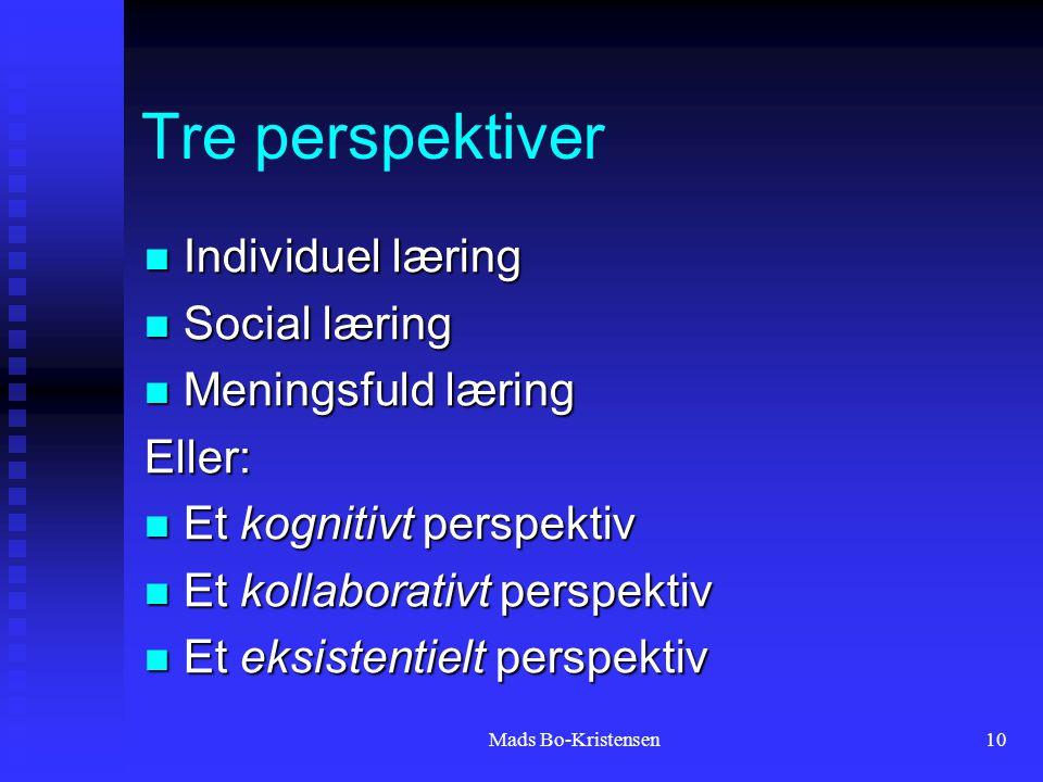 Mads Bo-Kristensen10 Tre perspektiver Individuel læring Individuel læring Social læring Social læring Meningsfuld læring Meningsfuld læringEller: Et kognitivt perspektiv Et kognitivt perspektiv Et kollaborativt perspektiv Et kollaborativt perspektiv Et eksistentielt perspektiv Et eksistentielt perspektiv