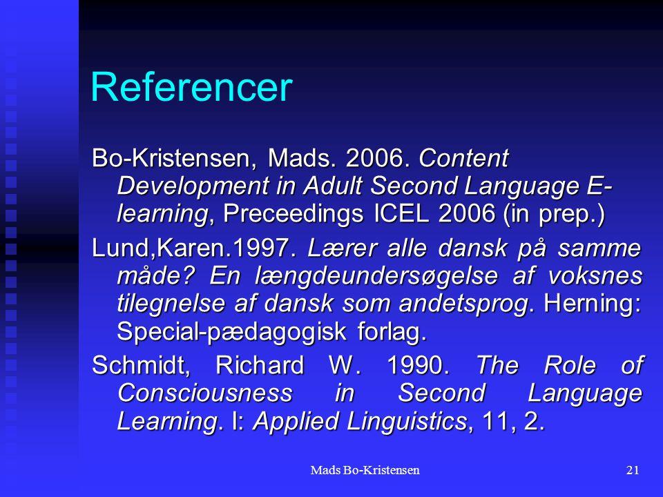 Mads Bo-Kristensen21 Referencer Bo-Kristensen, Mads.