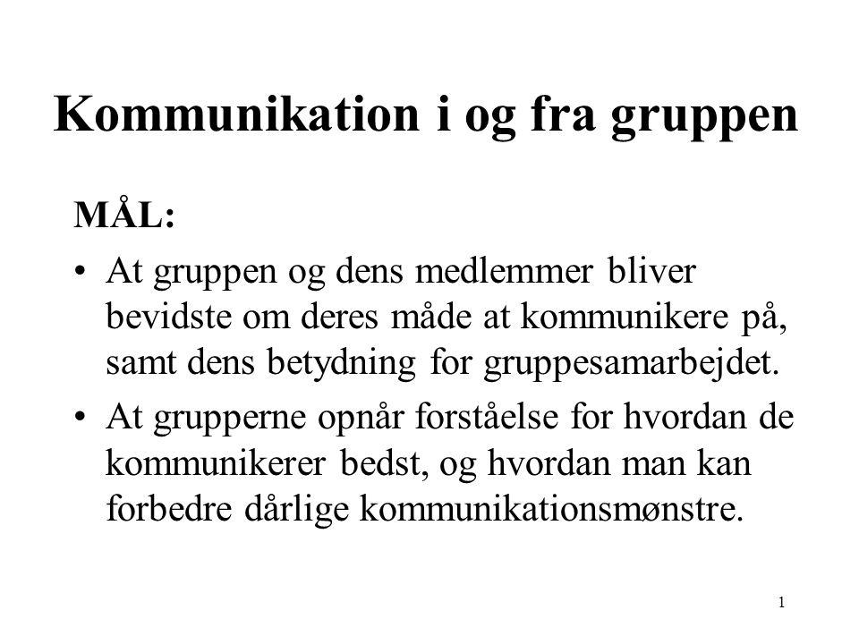 1 Kommunikation i og fra gruppen MÅL: At gruppen og dens medlemmer bliver bevidste om deres måde at kommunikere på, samt dens betydning for gruppesamarbejdet.