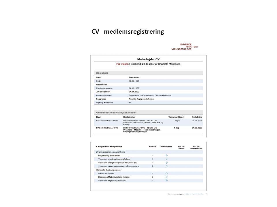 CV medlemsregistrering