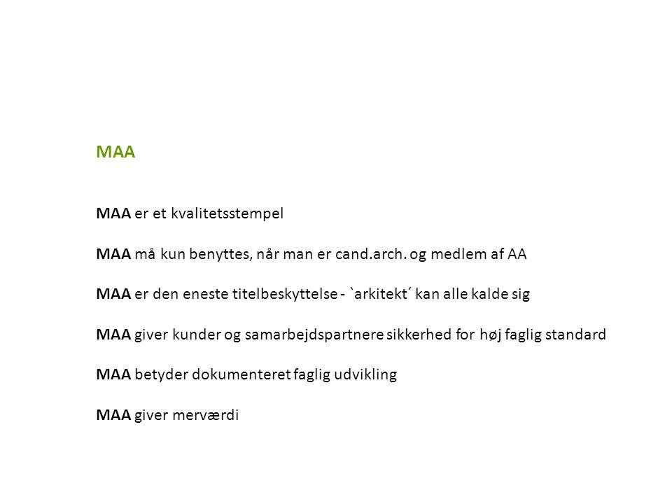 MAA MAA er et kvalitetsstempel MAA må kun benyttes, når man er cand.arch.