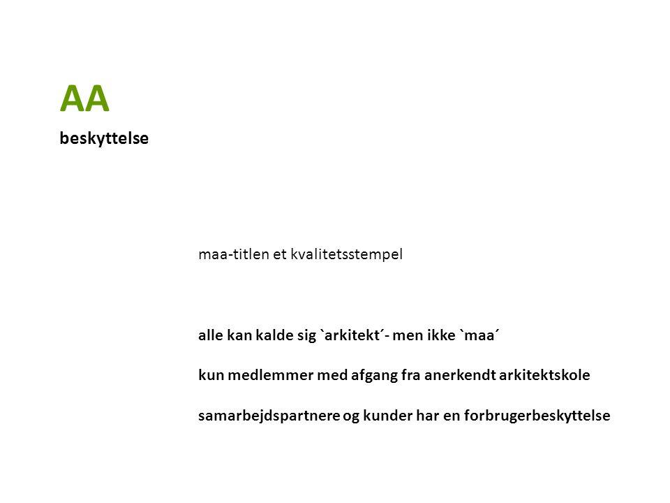 maa-titlen et kvalitetsstempel alle kan kalde sig `arkitekt´- men ikke `maa´ kun medlemmer med afgang fra anerkendt arkitektskole samarbejdspartnere og kunder har en forbrugerbeskyttelse AA beskyttelse
