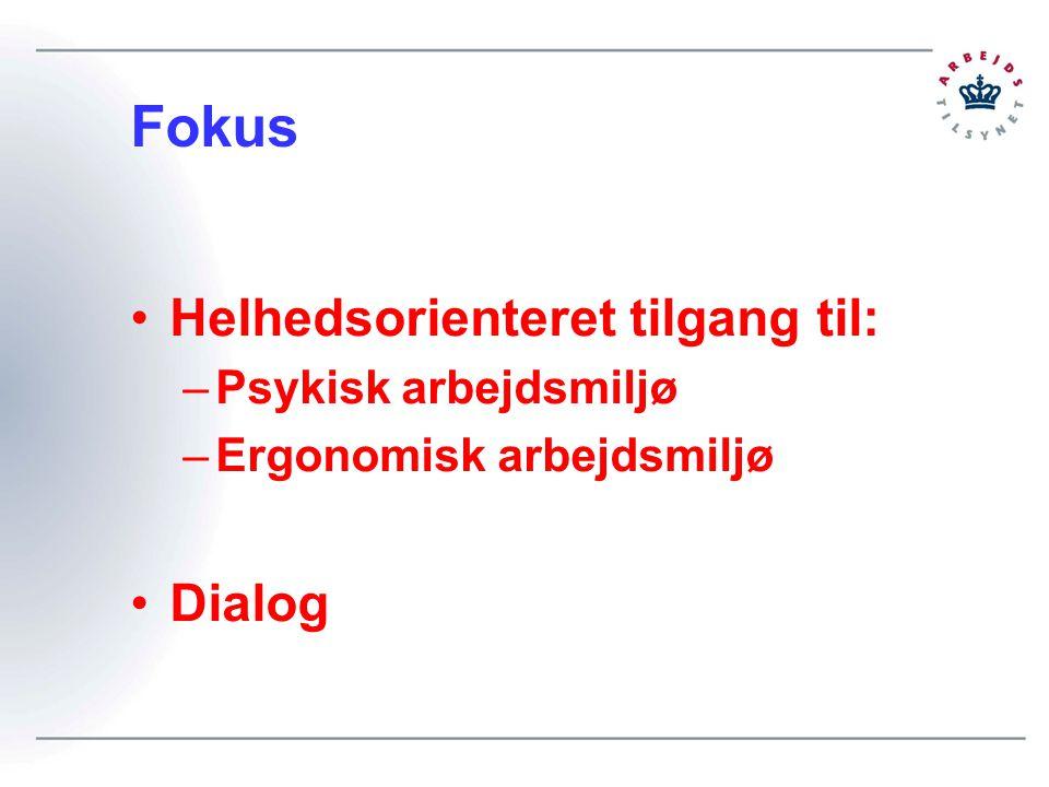 Fokus Helhedsorienteret tilgang til: –Psykisk arbejdsmiljø –Ergonomisk arbejdsmiljø Dialog