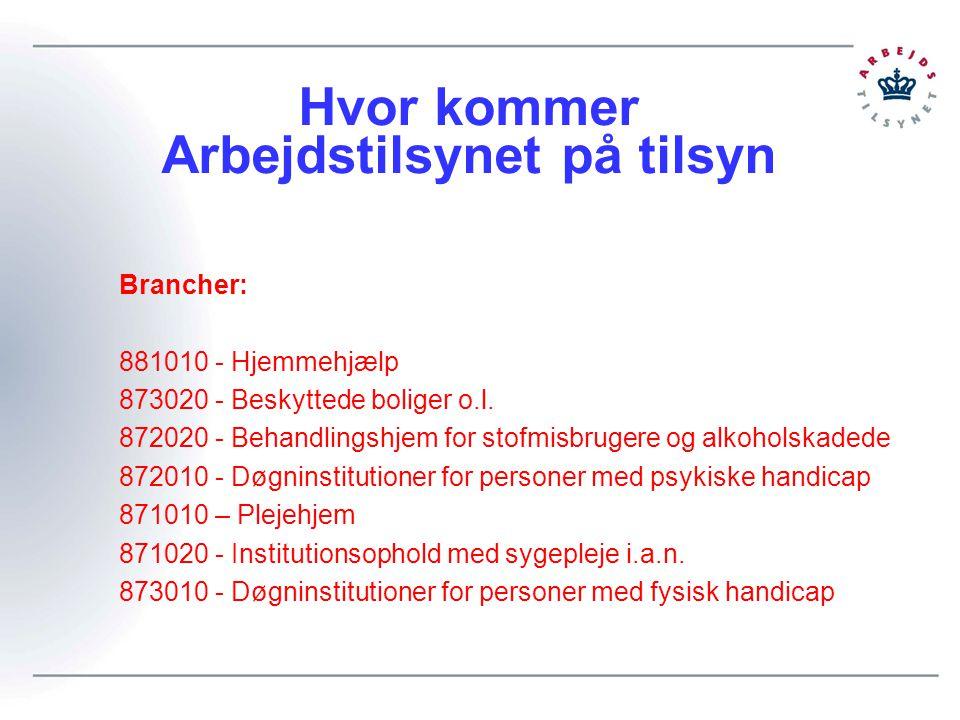 Hvor kommer Arbejdstilsynet på tilsyn Brancher: 881010 - Hjemmehjælp 873020 - Beskyttede boliger o.l.