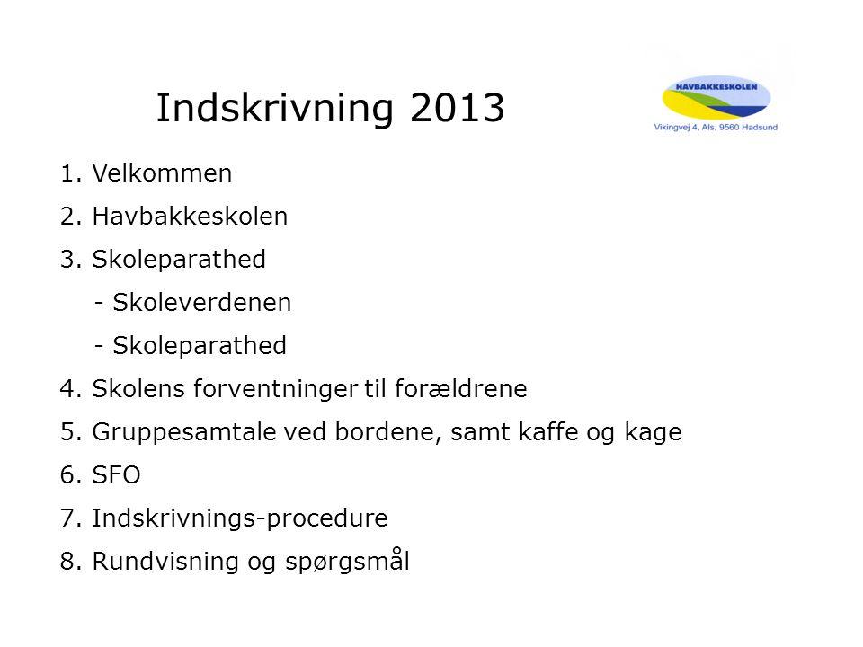 Indskrivning 2013 1.Velkommen 2.Havbakkeskolen 3.Skoleparathed - Skoleverdenen - Skoleparathed 4.