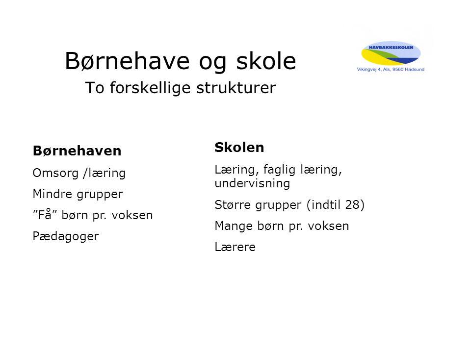 Børnehave og skole To forskellige strukturer Børnehaven Omsorg /læring Mindre grupper Få børn pr.