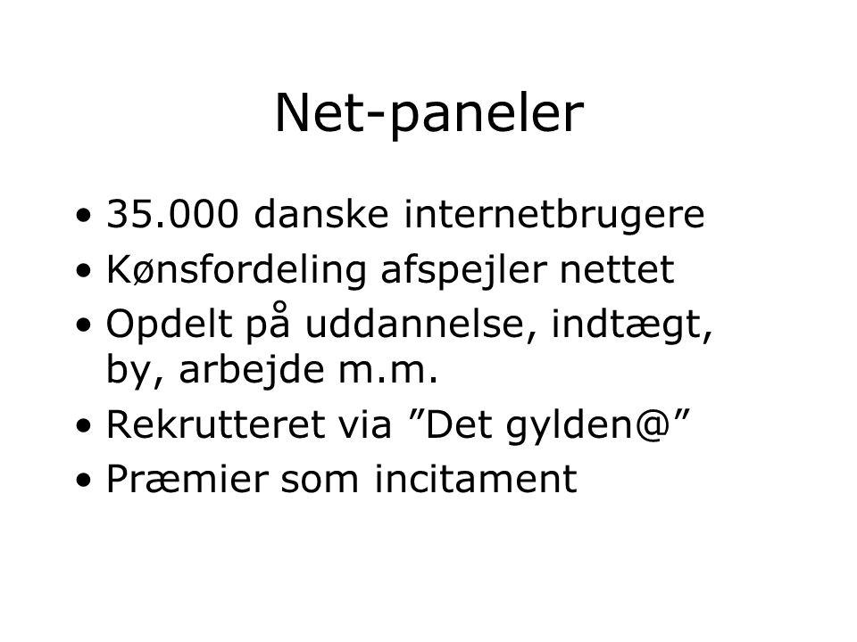 Net-paneler 35.000 danske internetbrugere Kønsfordeling afspejler nettet Opdelt på uddannelse, indtægt, by, arbejde m.m.