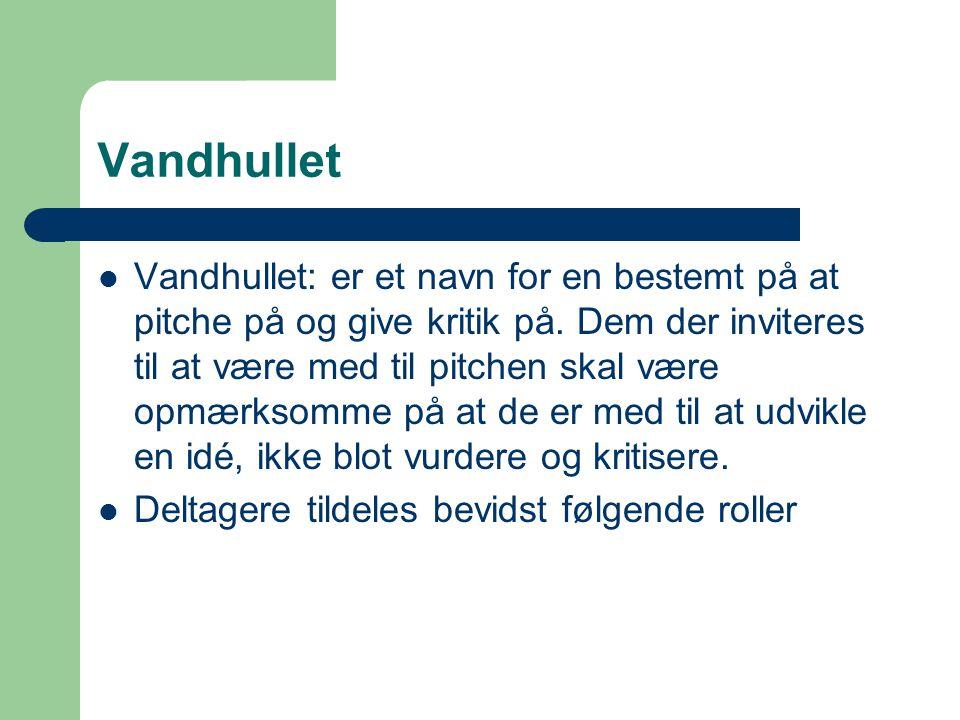Vandhullet Vandhullet: er et navn for en bestemt på at pitche på og give kritik på.