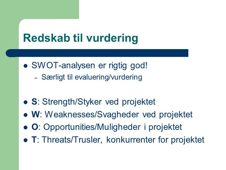 Redskab til vurdering SWOT-analysen er rigtig god.