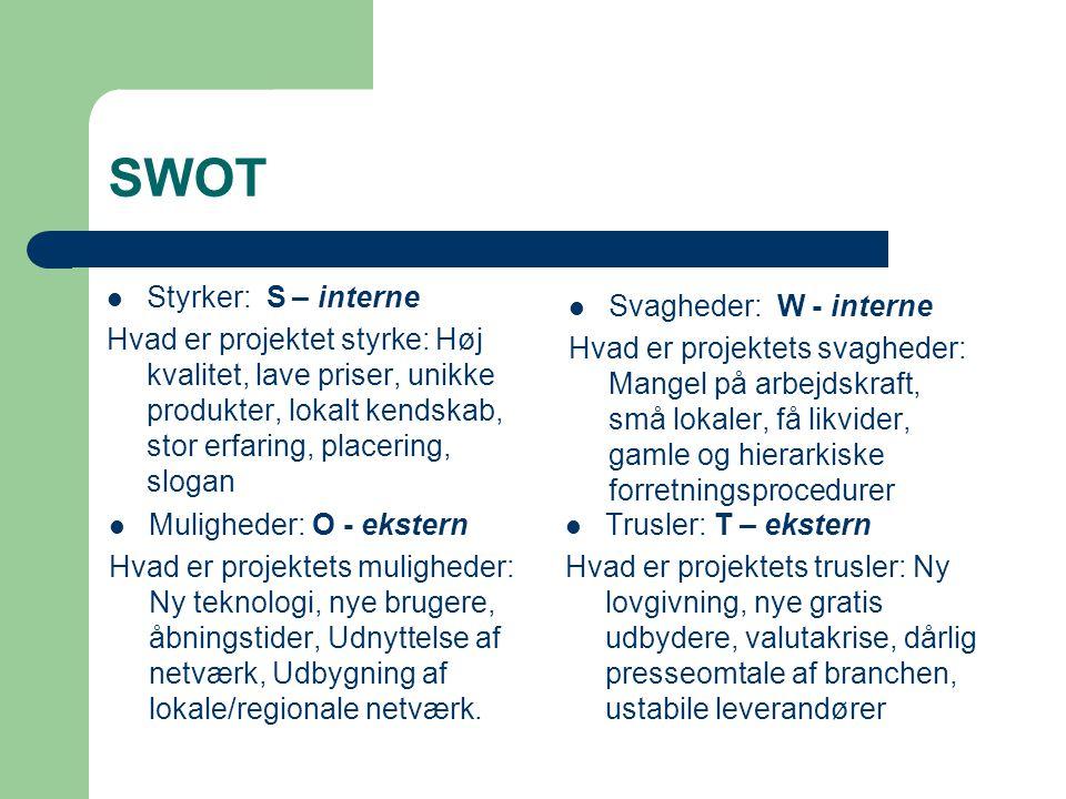 SWOT Styrker: S – interne Hvad er projektet styrke: Høj kvalitet, lave priser, unikke produkter, lokalt kendskab, stor erfaring, placering, slogan Svagheder: W - interne Hvad er projektets svagheder: Mangel på arbejdskraft, små lokaler, få likvider, gamle og hierarkiske forretningsprocedurer Muligheder: O - ekstern Hvad er projektets muligheder: Ny teknologi, nye brugere, åbningstider, Udnyttelse af netværk, Udbygning af lokale/regionale netværk.
