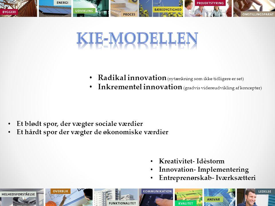 Radikal innovation (nytænkning som ikke tidligere er set) Inkrementel innovation (gradvis videreudvikling af koncepter) Et blødt spor, der vægter sociale værdier Et hårdt spor der vægter de økonomiske værdier Kreativitet- Idèstorm Innovation- Implementering Entreprenørskab- Iværksætteri