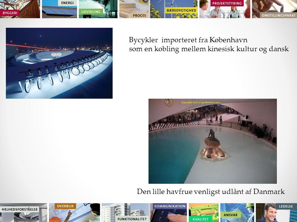 Bycykler importeret fra København som en kobling mellem kinesisk kultur og dansk Den lille havfrue venligst udlånt af Danmark