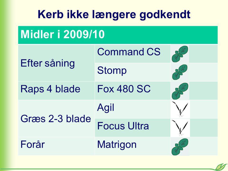 Kerb ikke længere godkendt Midler i 2009/10 Efter såning Command CS Stomp Raps 4 bladeFox 480 SC Græs 2-3 blade Agil Focus Ultra ForårMatrigon