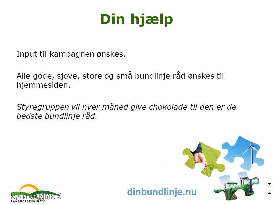 www.slf.dk dinbundlinje.nu Din hjælp Input til kampagnen ønskes.
