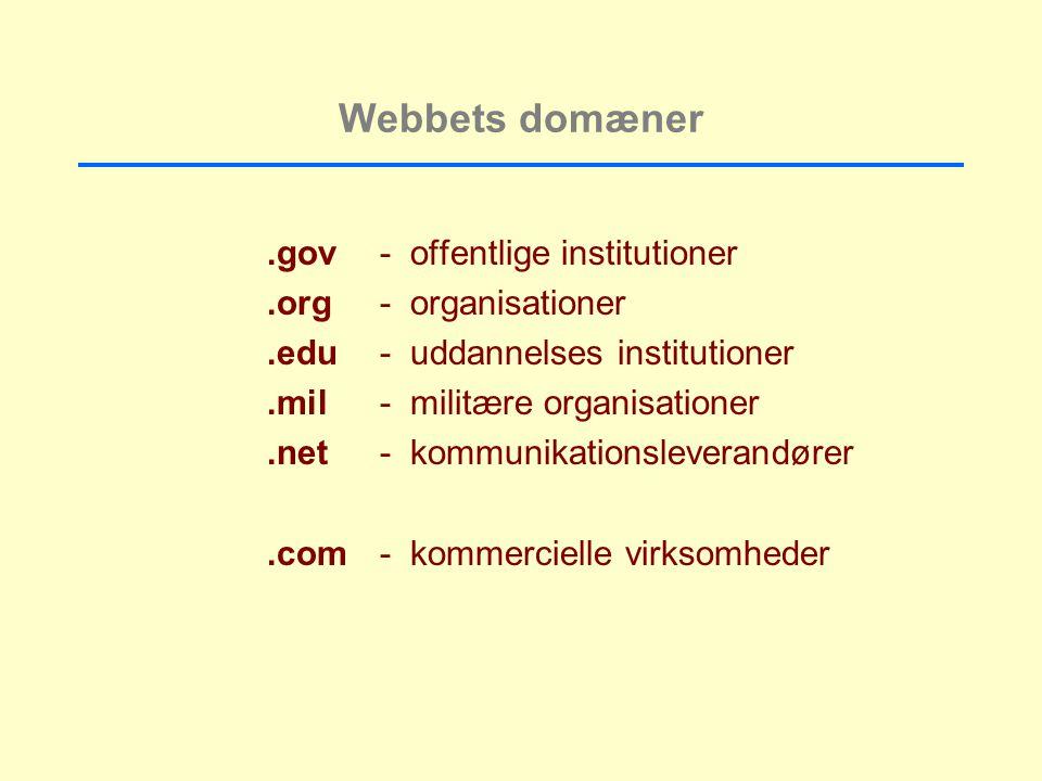 Webbets domæner.gov- offentlige institutioner.org- organisationer.edu- uddannelses institutioner.mil- militære organisationer.net- kommunikationsleverandører.com- kommercielle virksomheder