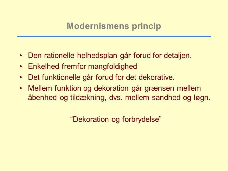 Modernismens princip Den rationelle helhedsplan går forud for detaljen.