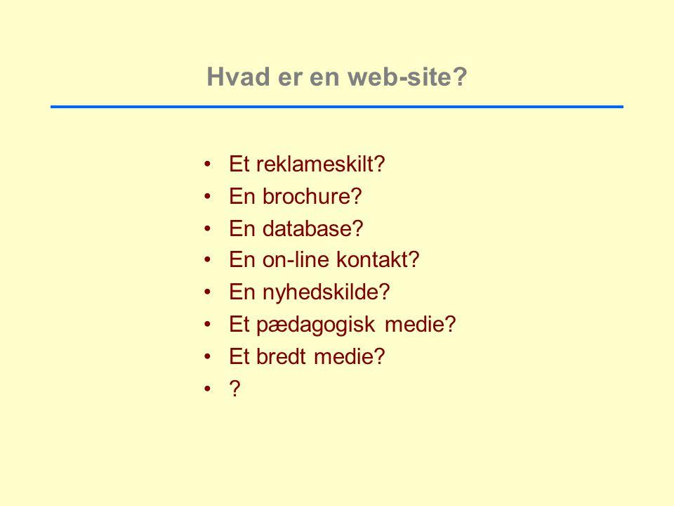 Hvad er en web-site. Et reklameskilt. En brochure.