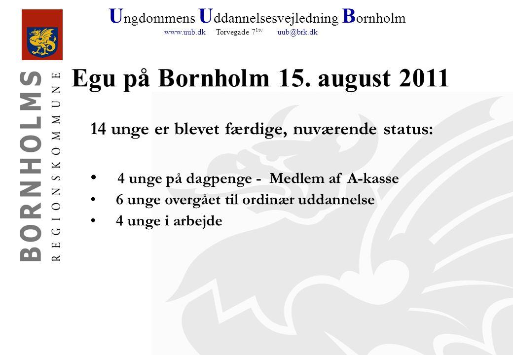 U ngdommens U ddannelsesvejledning B ornholm www.uub.dk Torvegade 7 1tv uub@brk.dk Egu på Bornholm 15.