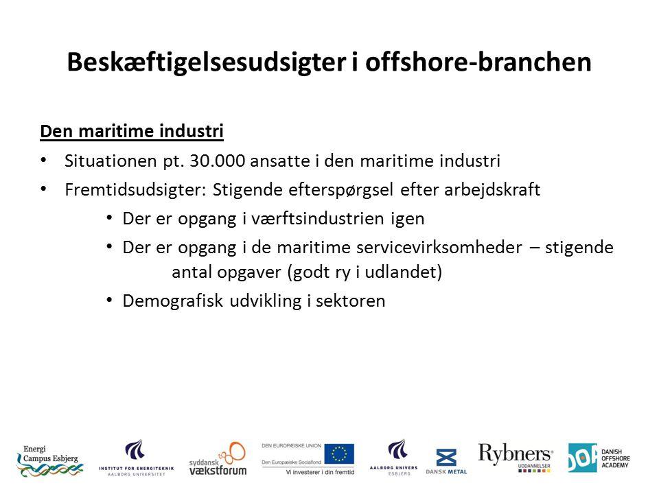 Beskæftigelsesudsigter i offshore-branchen Den maritime industri Situationen pt.