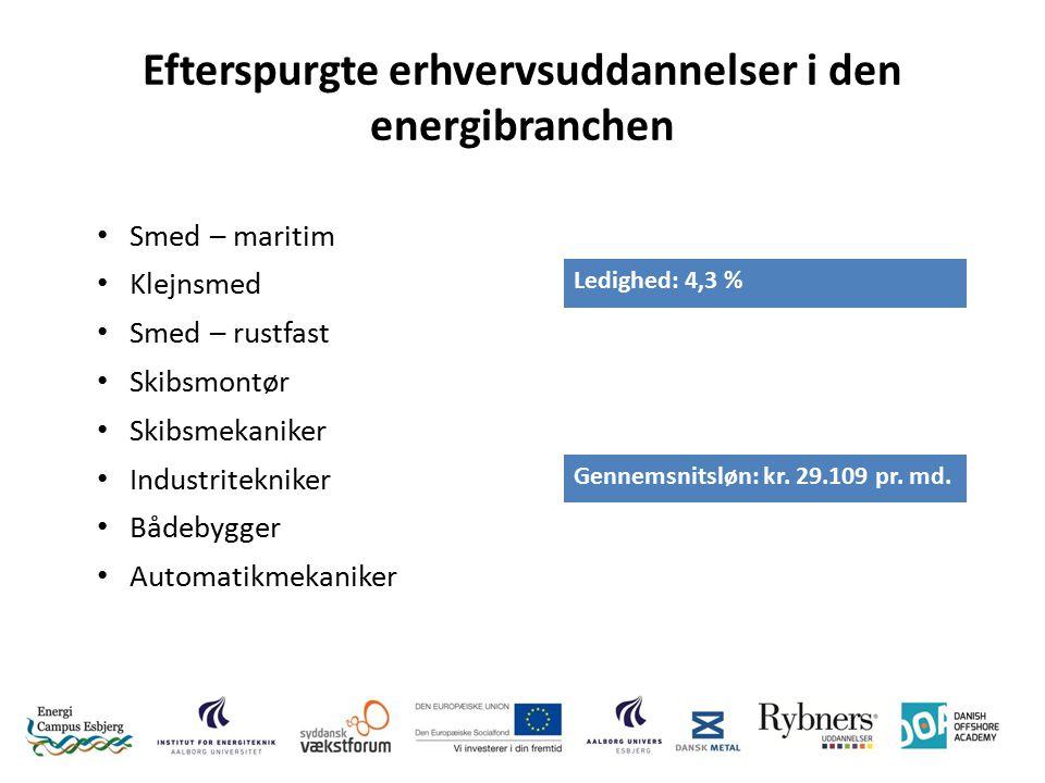 Efterspurgte erhvervsuddannelser i den energibranchen Smed – maritim Klejnsmed Ledighed: 4,3 % Smed – rustfast Skibsmontør Skibsmekaniker Industritekniker Gennemsnitsløn: kr.