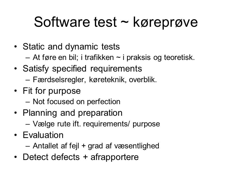 Software test ~ køreprøve Static and dynamic tests –At føre en bil; i trafikken ~ i praksis og teoretisk.